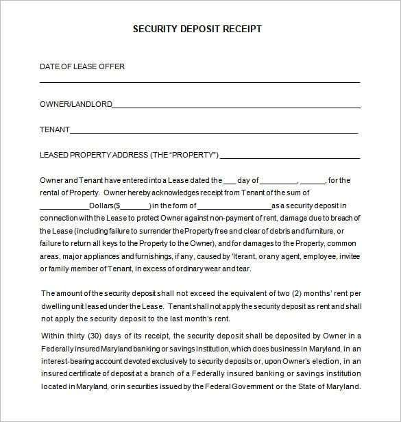 Security Deposit Receipt Receipt Template Doc For Word Documents In Different Types You Can Use Receipt Templat Receipt Template Invoice Template Templates