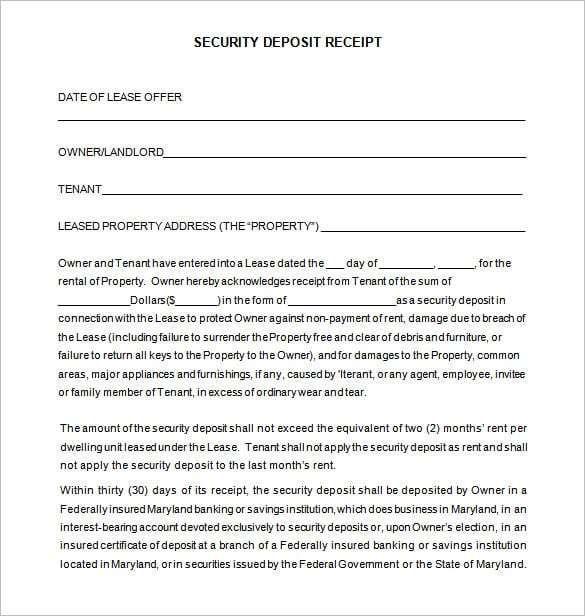 Security Deposit Receipt 665 Receipt Template Invoice Template Templates