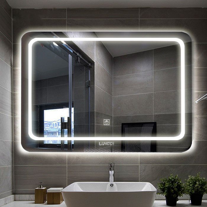 This Rectangular Led Makeup Mirror Was Edge Smoothed To Fit The Anti Collision Design It Has This Smart Touch Screen S Mirror Mirrors For Sale Silver Bathroom