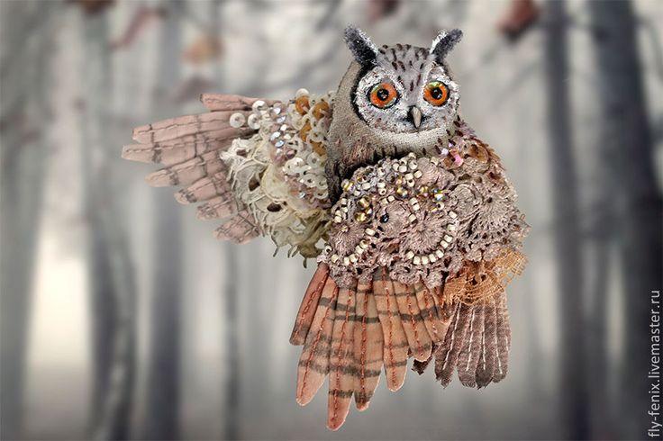 Купить миниатюрная брошь - сова Филин - птица, миниатюра, маленькая брошь, на платье, брошка