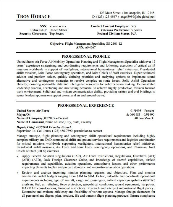Us Air Force Federal Resume Template Federal Resume Federal Resume Job Resume Samples Job Resume Examples