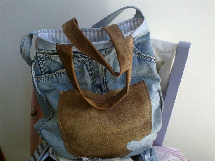 Borsa fatta con gonna di jeans e pelle - Natascia Ferrini