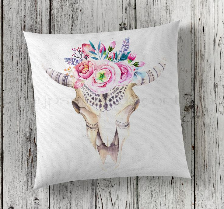 Cow Skull Pillow, Skull Pillow, Boho Skull, Boho Skull Pillow, Boho Pillows