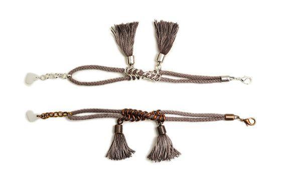 Taupe Tassel Bracelet Boho Bracelet Rope Bracelet by gudbling