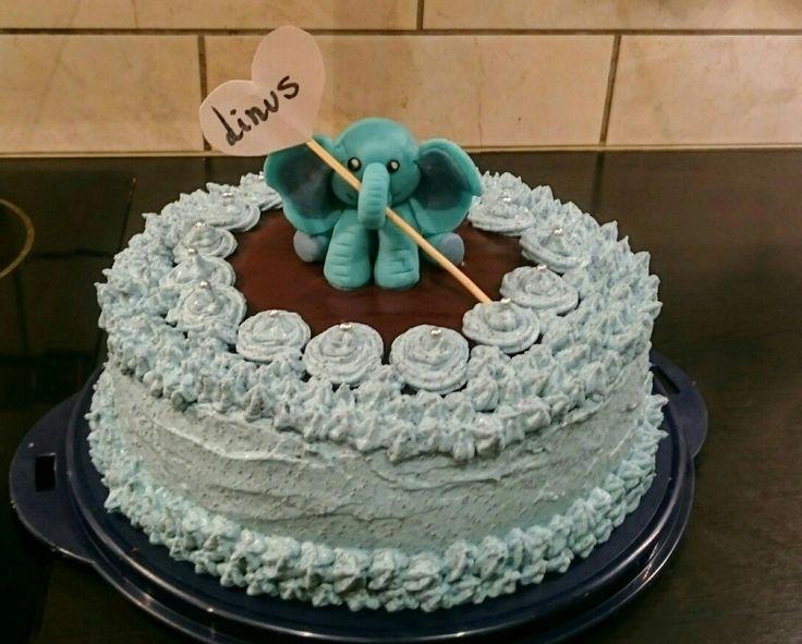 Dåpskake.  Sjokoladekake med blå jorbærmousse.