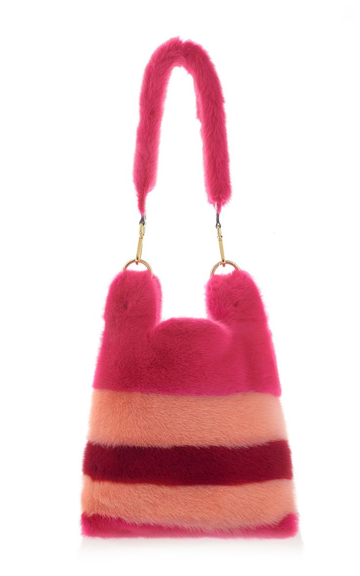 Stripe Fur Tote by Simonetta Ravizza