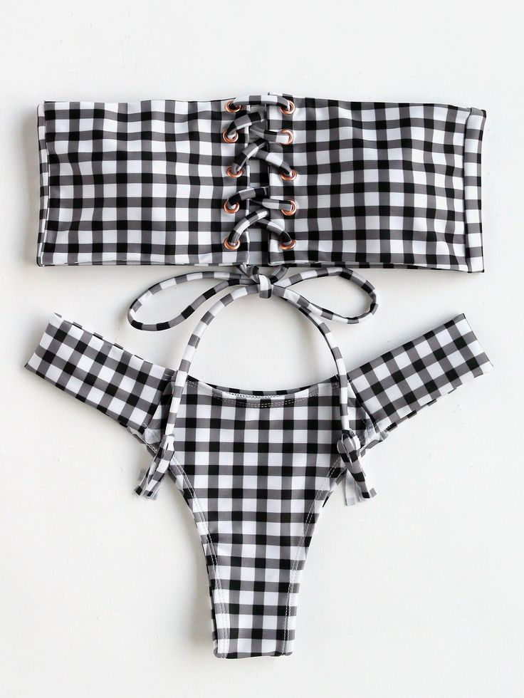 Lace Up Gingham Print Bandeau Bikini Set. For similar content follow me @jpsunshine10041