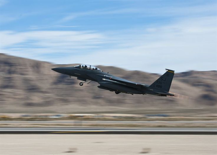 An Strike Eagle assigned to the Fighter Squadron takes off during Red Flag  March at Nellis Air Force Base, Nev. Red Flag gives Airmen an opportunity  to ...