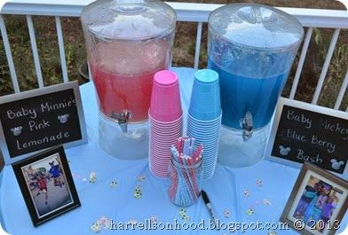 mickey or minnie DISNEY themed gender reveal party ideas, pink and blue drinks