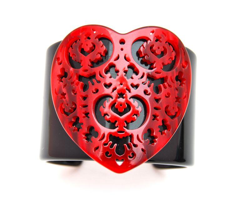 Bracciale cuff con cuore, bracelet, red, black, rosso, nero, rosa Velvet, shop on line fashion jewelry