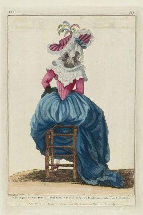 """""""Dame de qualité prenant le frais au Jardin du Roi. Elle est en Chapeau à l'Anglomane et vêtue d'une Robe Angloise"""", Gallerie des Modes, 1786; MFA 44.1655"""