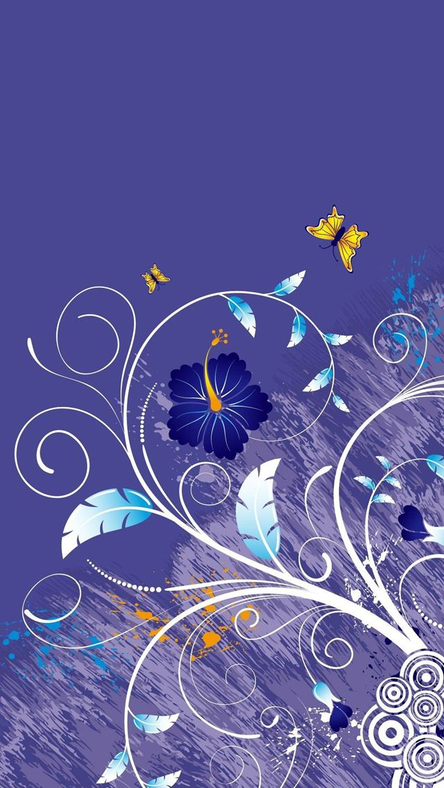 Vector Purple Leaves Flowers Iphone 5s Wallpaper This