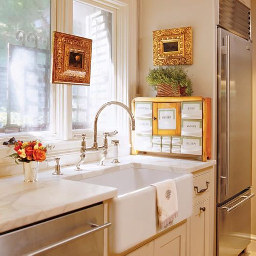 kitchen looking into sunroom: Organizations Tips, Countertops, Kitchens Ideas, Farms Sinks, Farmhouse Sinks, Kitchens Makeovers, White Cabinets, Kitchens Sinks, Stainless Steel