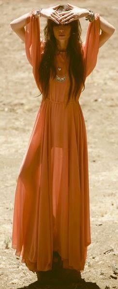 Tangerine Hippie Dress