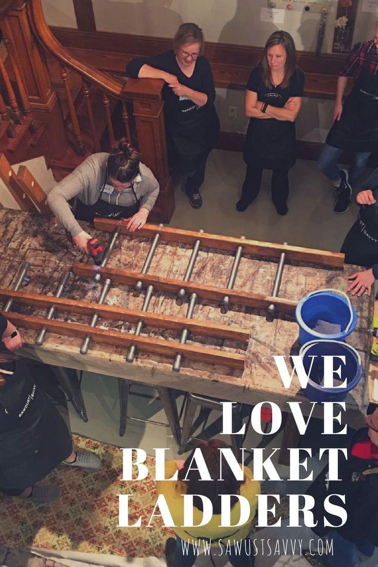 Make your own at our Blanket Ladder Workshop. #sawdustsavvy #blanketladder #diy #minnesota #stillwater