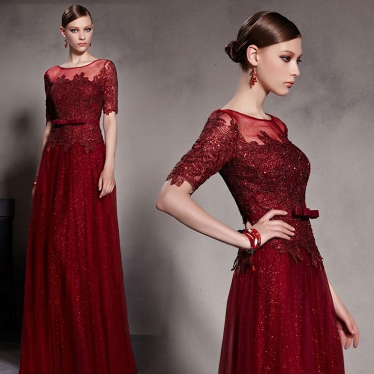 Short Sleeve Hand Beaded Burgundy Lace Floor Length Bridesmaid Dressesburgundy