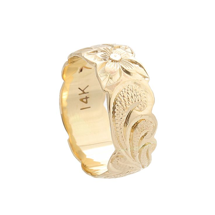 Hawaiian Jewelry 14K Yellow Gold 8mm Queen Scrolling Ring - Makani Hawaii,Hawaiian Jewelry and Watch Wholesaler and Manufacturer