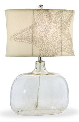 Clear bottle lamp with linen star shade. This would look fabulous in a beach house.