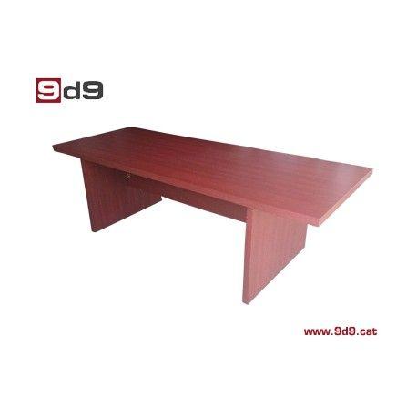 Mesa de juntas de segunda mano, para oficina, fabricada en tablero laminado de 4 cm de grosor, acabado caoba.  Medidas largo 230 cm ancho 90 cm
