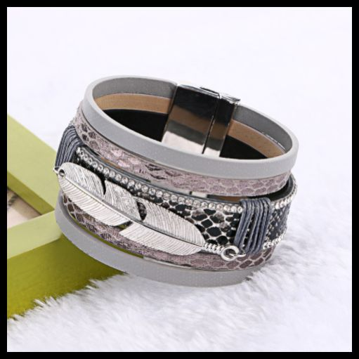 Leather Bracelet Wide Cuff with Feather Designs 6 colours 5 get 1 free