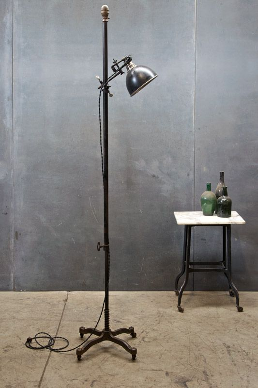 USA, c.1920s. Vintage Industrial NYC Articulating Floor Lamp, Articulate, Adjustable and Hand held Workman's Lamp. Cast Iron Base, Raised Markings, Fashion Model Form Co. New York NY. Rewired and Functional. Dia: 19 x H: 60 - 88 In. $1485