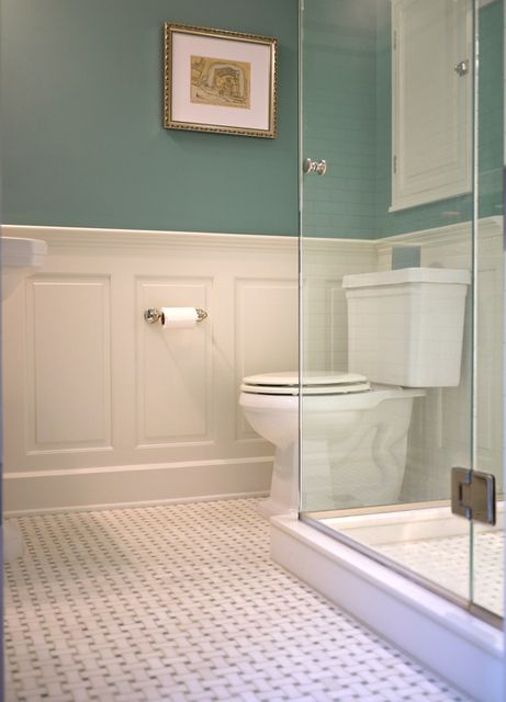 Hall panelling and muted blue green on walls for bathroom