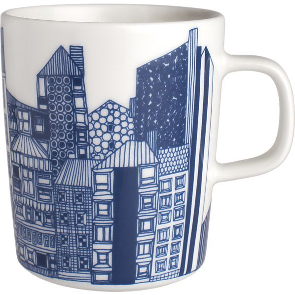 Marimekko Siirtolapuutarha Blue and White Mug I Crate and Barrel