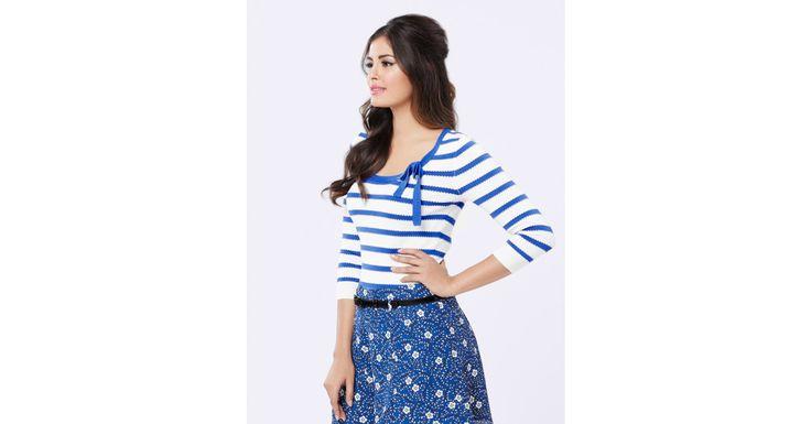 Review Australia - Cecile Stripe 3/4 Slv Top Bright Blue/cream