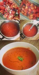 Gegrilde tomaten-paprika soep erg volle smaak!
