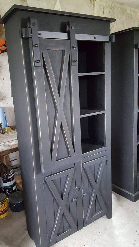 Rustic Farmhouse Style Cabinet Sliding Barn Door Cabinet Etsy In