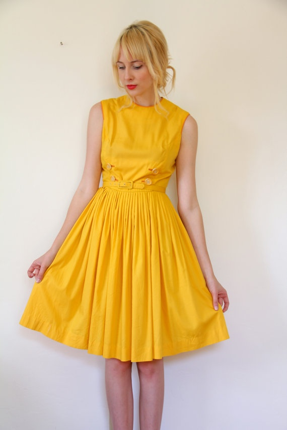 Vintage 1950's Mustard Yellow Dress // s by TenderVintage on Etsy, $84.00