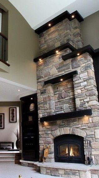 Vaulted Ceiling And Tiered Fireplace With Inlay Ed Lighting.. Very  Beautiful!