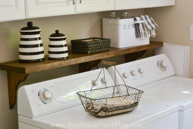 DIY laundry room shelf above washer and dryer to conceal the space behind them Need that shelf.
