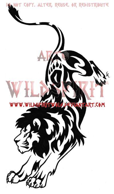 Tribal Lion Tattoo Designs | Tribal Leaping Lion Tattoo by *WildSpiritWolf on deviantART