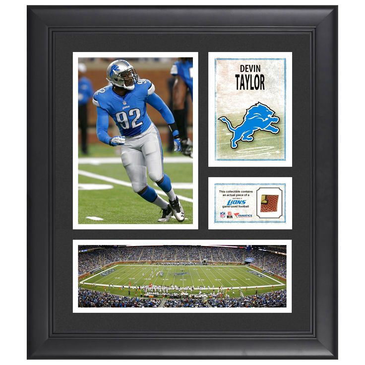 "Devin Taylor Detroit Lions Fanatics Authentic Framed 15"" x 17"" Collage with Piece of Game-Used Football - $63.99"