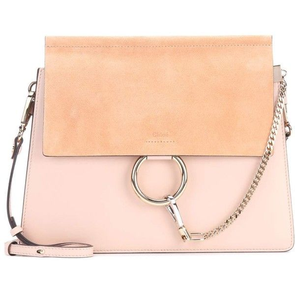 Chloé Faye Leather and Suede Shoulder Bag ($2,410) ❤ liked on Polyvore featuring bags, handbags, shoulder bags, beige, leather shoulder handbags, red leather purse, red suede handbag, chloe purse and red handbags