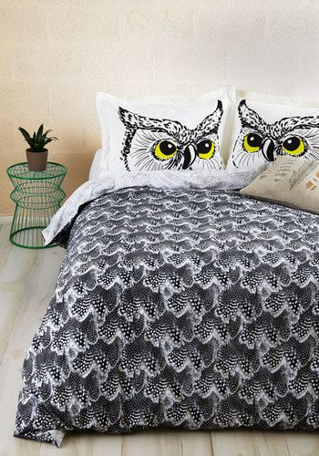 Fly Off to Dreamland Duvet Cover in Twin/Twin XL - Cotton, Woven, Multi, Owls, Best, Novelty Print, Dorm Decor, Exclusives