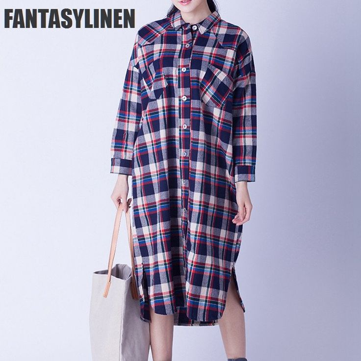 Big Plaid Cotton Casual Loose Long Shirt Two Pocket Dress Tops Women Clothes C0804A