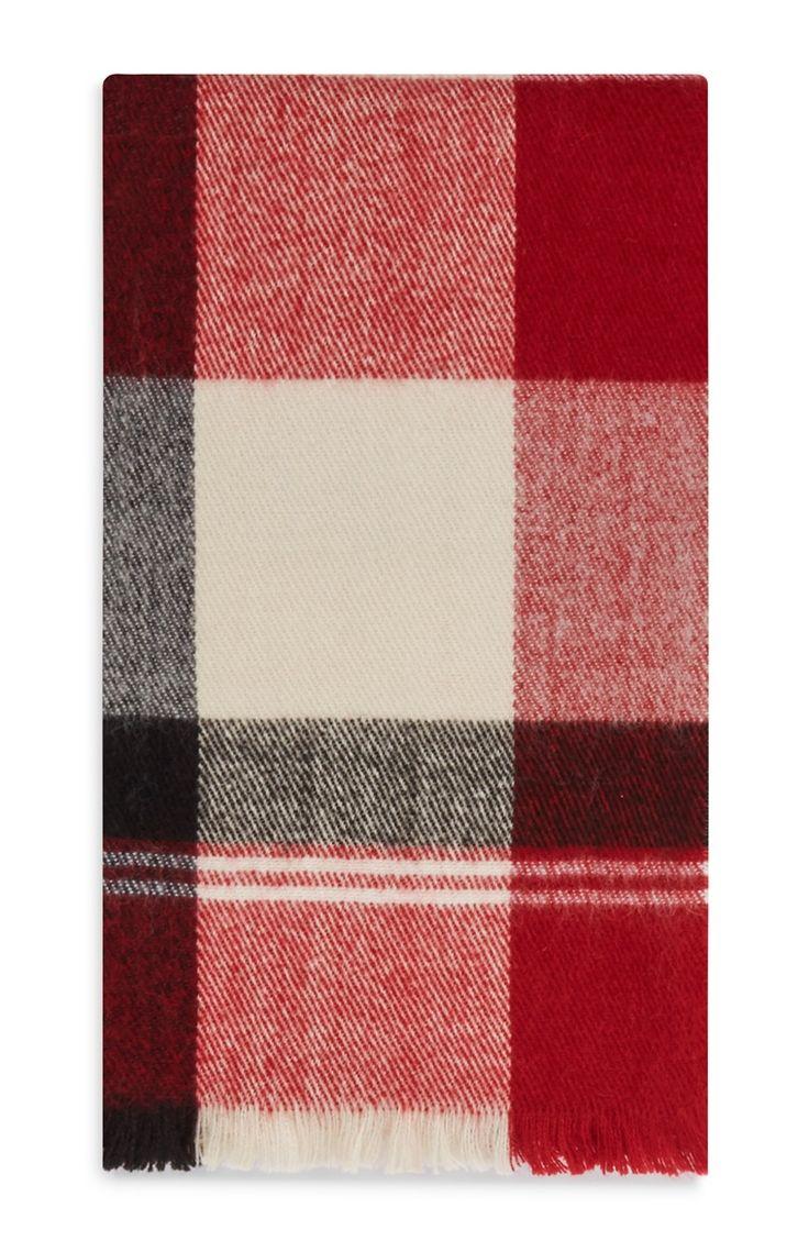 Primark - Écharpe rouge à motif écossais