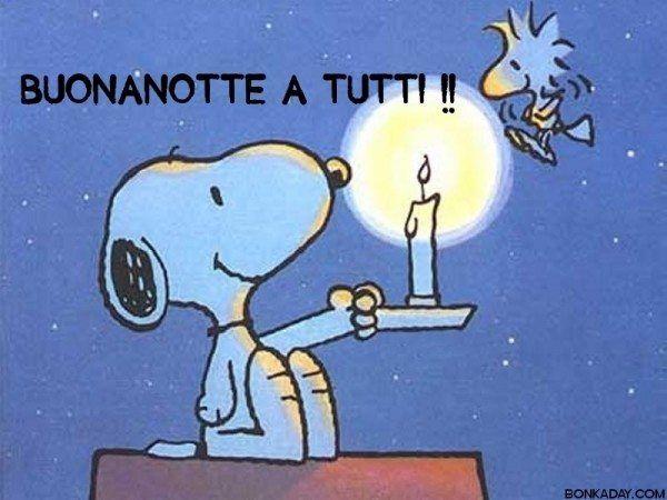 Vignette con frasi buonasera di Snoopy