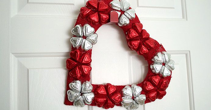 Heart Shaped Candy Wreath for Valentine's Day