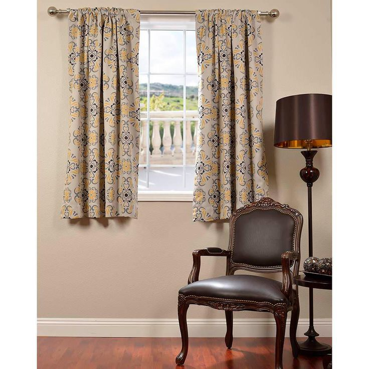 Exclusive Fabrics U0026 Furnishings Soliel Yellow Grey Blackout Curtain   50  In. W X 63