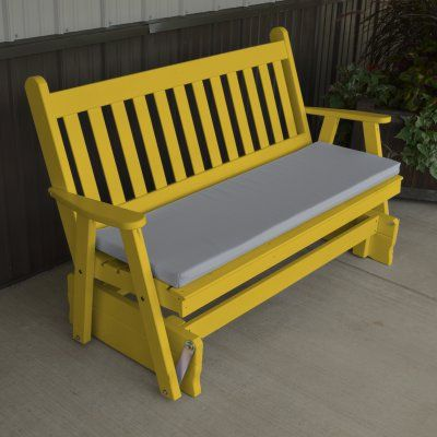 A & L Furniture Yellow Pine Traditional English Outdoor Bench Glider Canary Yellow - 601-CYP CANARY YELLOW, Durable