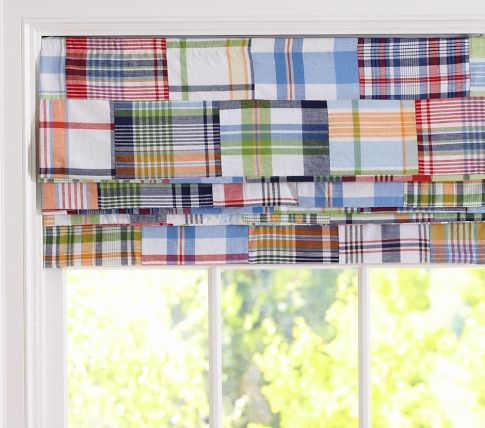 Madras Roman Shade | Pottery Barn Kids - for boys' room instead of curtains?