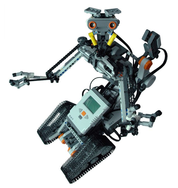 """LEGO MINDSTORMS NXT replica of Johnny 5, the robot starred in the Short Circuit movies. It's included in my book """"Creating Cool LEGO MINDSTORMS NXT Robots"""""""