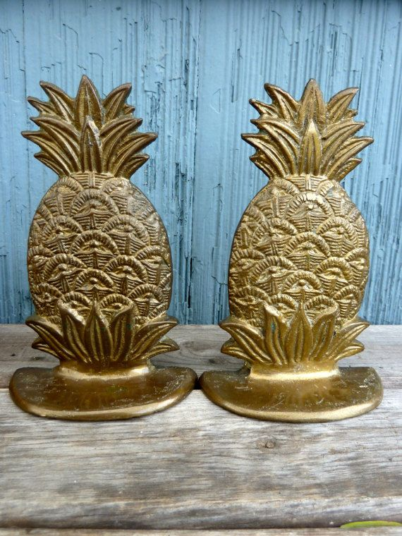 Brass pineapple bookends tropical theme home decor by OatesGeneral