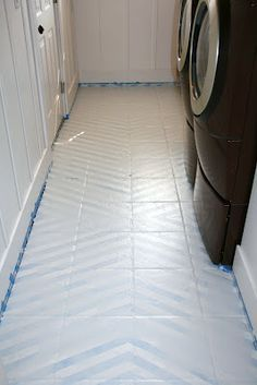how to paint tile floors - a tutorial - Love Stitched ((I am looking into painting my bathroom floors))