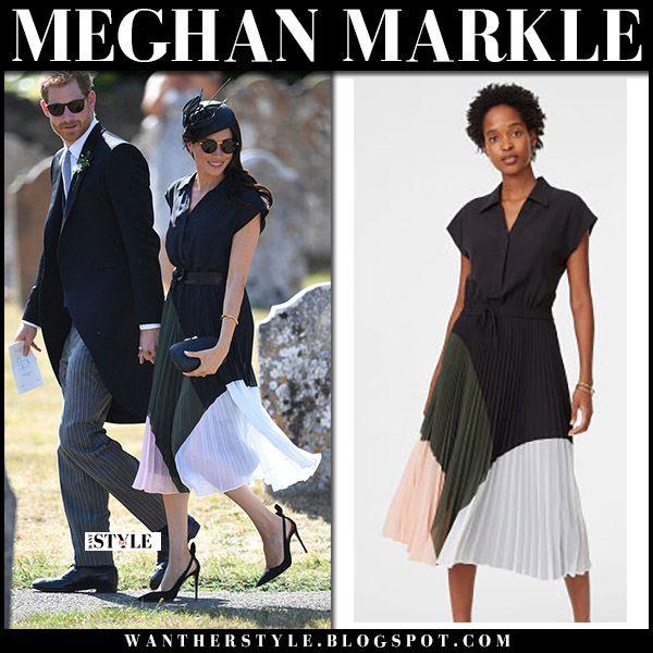Meghan Markle In Colour Block Pleated Midi Dress Club Monaco Prince Harry Duchess Sussex Royals Roy Pleated Midi Dress Meghan Markle Outfits Club Dresses