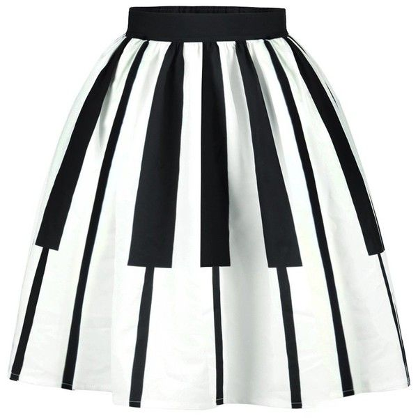 Two Tone High Waist Striped Skirt ($12) ❤ liked on Polyvore featuring skirts, high-waisted skirts, high waisted knee length skirt, stripe skirt, white high waisted skirt and high-waist skirt