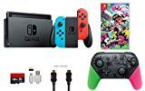 Nintendo Switch Bundle (7 items): 32GB Console Neon Red Blue Joy-con Nintendo Switch Pro Controller Splatoon 2 Edition Game Disc-Splatoon 2 128GB Micro SD Card Type C Cable HDMI Wall Charger